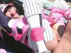 Sporty chick fucked on the baseball diamond
