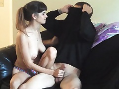 Gf sucks off her bf on their new couch
