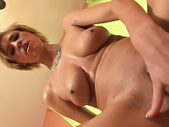 Teen riding cock with her shaved pussy and getting dogged