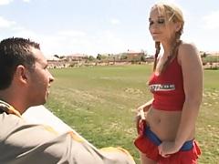Cute teen cheerleader wants that large cock
