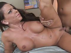 Big tits chick sideways deep banging on bed