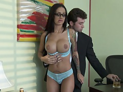 Sexy angelina is naked for the boss trying to get bonuses