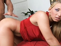 Doggy styling a chick in a hot red dress with no underwear