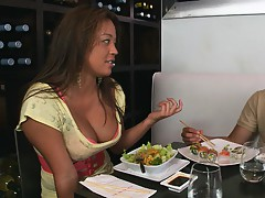 Sexy babe out on a date with a slightly gay dude