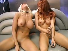 Belladonna masturbating with a nice dildo in lesbian scene