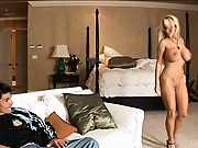 Hot busty babe sucks and titty fucks it