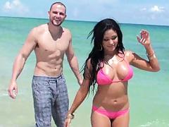 Big tits on the beach what a scene