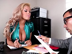 Huge tits slut is doing her papers