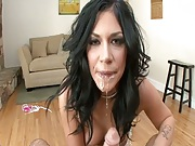 Wet dripping blowjob from petite brunette Andy San Dimas and doggy style