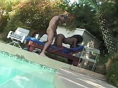 Ebony Anna Nicole gets doggy fucked on pool chair