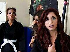 Teens like it big with Gracie learning Karate