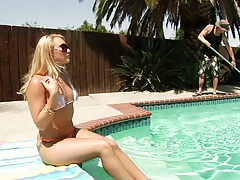 Outdoor bikini solo posing in the water with AJ Applegate