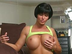 POV blowjob from big tits brunette milf Shay