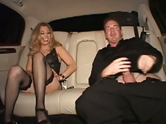 Backseat lingerie whore Railee in the limo