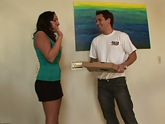 Blowjob with miniskirt Richelle Ryan for pizza delivery man