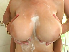 Going to shower with big natural tits Allison and suck