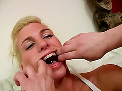 Mouth spreading Crystal for some rough sex deep throat gagging
