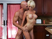 Mrs Pines fucked sideways and tits all over the kitchen