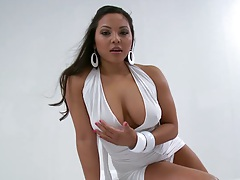 Solo Adriana gives a peak down her panties