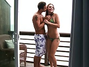 Tori and Rocco having blow job on balcony