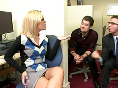 Nicole up at the office with some dudes