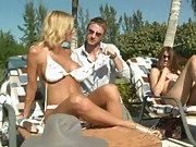 Bikini stripping milfs outdoors tanning