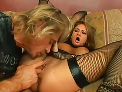Fingering and blowjob with busty girl in fishnet