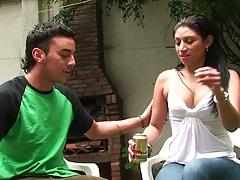 Latina Samantha Alvarez outdoors flashing her panties
