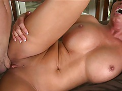 big tits milf stretches out her legs whli enailed