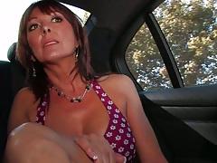 backseat milf Desi Foxx showing tight fake tits