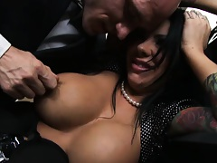 Big tis Mason going down on her large cock boss
