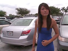 Cute asian girl in a tight dress picked up bangbus