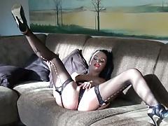 Hot fishnet pantyhose on a brunette amateur babe
