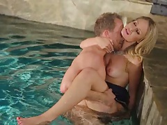 Small tits Charlee Monroe fucked in the pool