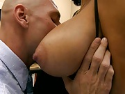 Big tits Ava wearing no bra in the office