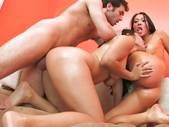 Doggy style and lesbian kissing with two asian girls Jessica Bangkok and Asa Akira in a group