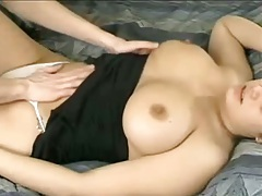 Titty fuck with ejaculation in mouth with busty brunette