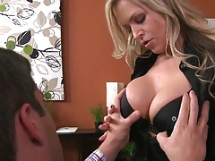 Big tits Darcy Tyler in the office making out with guy