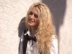 Blonde milf Victoria Givens outdoors and goes in for a group fuck