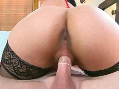 Cowgirl humping from big round ass latina Carmela Ray on cock