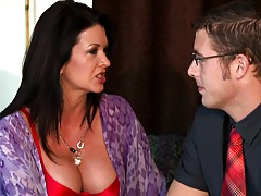 Big tits house wife slut Raquel calls in the young neighbour