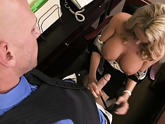 Hot big tits slut sucking off the boss behind desk