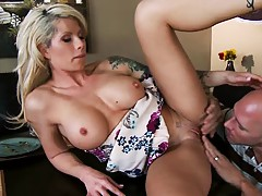 Shaved pussy milf gets eaten out on dinner table