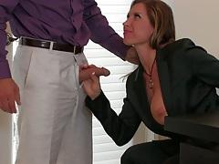Milf handjob with fully clothed Devon Lee behind office desk