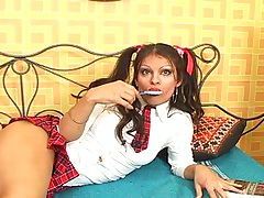 Transsexual school girl uniform on Marina Del Sol