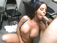 Big tits flight attendant spreads legs for security