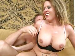 Milf sucks dick reaching around and tits hanging down