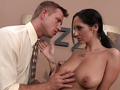 Fingering and licking busty Ava on an office desk
